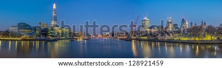 Panorama shot from Tower bridge - stock photo