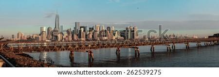 Panorama shot of Ellis Island bridge over Hudson river - stock photo