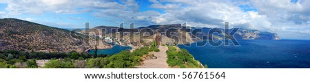 Panorama shot of mountains, bay and sea