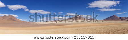 "Panorama shot of the ""Salvador Dali desert"" in the highlands of Bolivia - stock photo"
