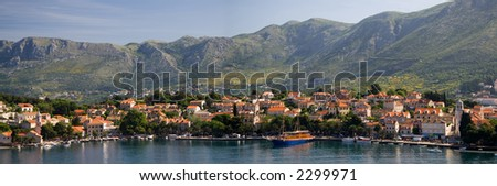Panorama showing the croat village of Cavtat which lies on the Adriatic Sea. - stock photo
