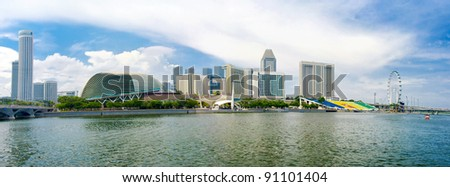 Panorama Singapore skyline and river during daytime - stock photo