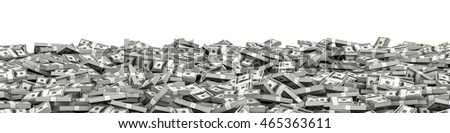 Panorama stacks dollars / 3D illustration of panoramic stacks of hundred dollar bills