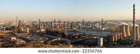 panorama steel-iron plant in Beijing,China. - stock photo