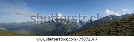 Panorama summer Mountain. Caucasus Mountains. Georgia, Svaneti - stock photo