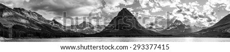 Panorama Swiftcurrent Lake in Glacier National Park, Montana - stock photo
