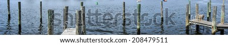Panorama, Thames river with wooden piers and wharfs, Thames river with wooden piers and wharfs, Old Mystic Seaport, Connecticut - stock photo