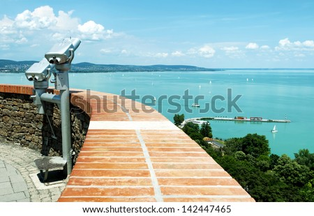 Panorama to Lake Balaton from Tihany Peninsula, Hungary - stock photo