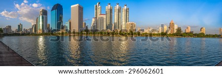 Panorama tower blue sky landscape with water reflection. - stock photo