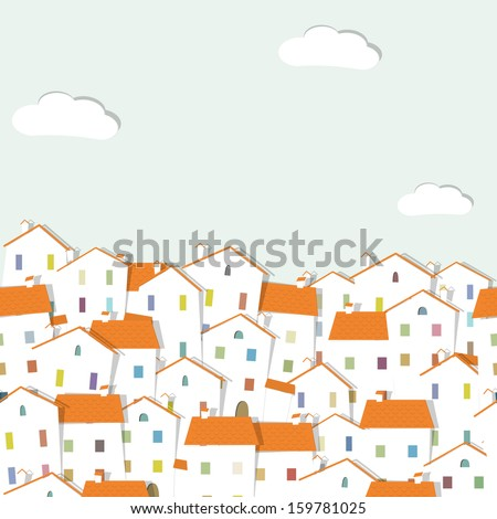 panorama town - stock photo