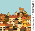 Panorama town in european style seamless pattern, orange, yellow, white and green. Raster version, vector file also available. - stock photo