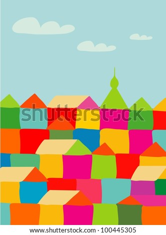 panorama town. seamless  pattern - stock photo