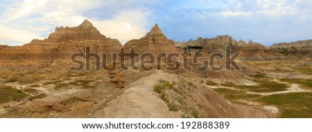 Panorama,Trail Into the Badlands at Sun Rise - stock photo