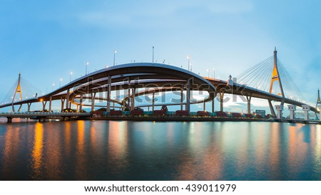 Panorama Twin Suspension bridge waterfront at twilight - stock photo
