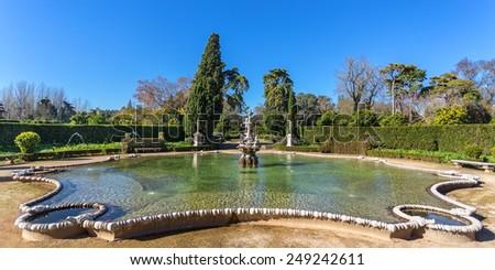 Panorama unique fountain historical epoch. Castle Queluz, Sintra. - stock photo