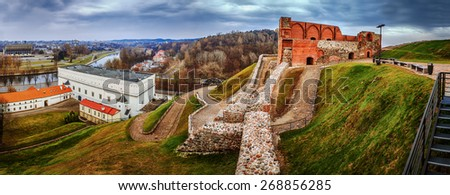 Panorama: Upper Vilnius Castle Complex, is a group of cultural, and historic structures on left bank of Neris River, near its confluence with Vilnia River, in Vilnius, Lithuania. - stock photo