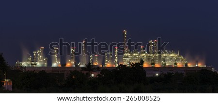 Panorama Utility plant, Oil Refinery twilight light . - stock photo