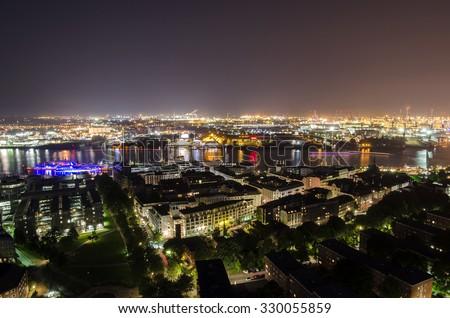 Panorama view from Hamburg Germany - stock photo