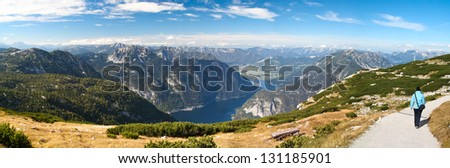 Panorama view from Krippenstein Plateau in Austrian Alps - stock photo