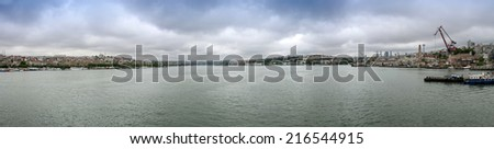 Panorama. View from the Bosphorus Strait at Istanbul - stock photo