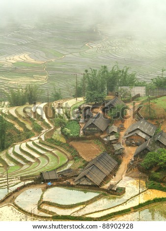 Panorama view in a traditional village in Vietnam - stock photo