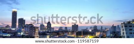 Panorama view in bangkok city at the twilight - stock photo