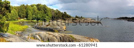 Panorama view in Utö (Sweden), one of the beautiful islands in Stockholm archipelago. - stock photo