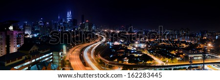 Panorama view landscape of kuala lumpur at night - stock photo