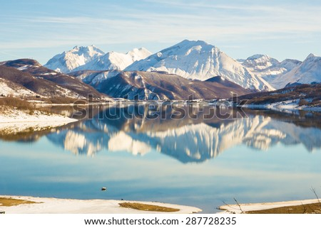 Panorama view of alps lake in the winter season