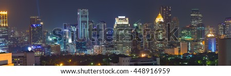 Panorama view of Bangkok business district at night time.