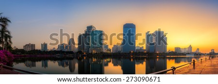Panorama view of Bangkok city downtown at sunrise in Thailand - stock photo