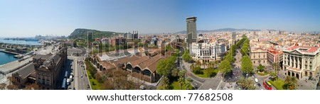 Panorama view of Barcelona from  Columbus monument. Spain - stock photo
