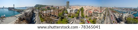 Panorama view of Barcelona from Columbus statue. Spain - stock photo