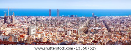Panorama view of Barcelona from Park Guell in sunny day. Spain - stock photo