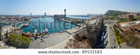 Panorama view of Barcelona port. Spain - stock photo