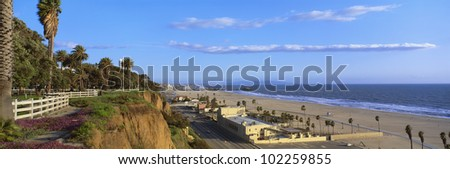 Panorama view of beach and blue sky - stock photo