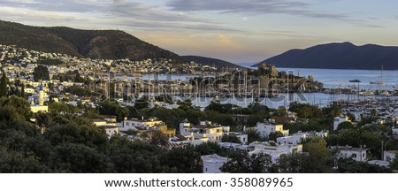 Panorama view of Bodrum at the sunset on Turkish Riviera. - stock photo
