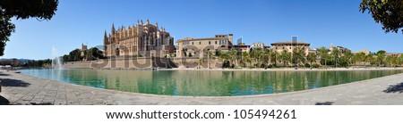 Panorama view of Cathedral Le Seu, Palma de Mallorca, Spain - stock photo