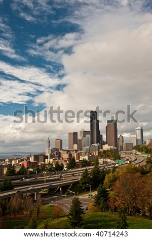 Panorama view of downtown Seattle skyline