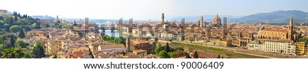 Panorama View of Florence / Firenze (High Res), Tuscany, Italy - stock photo