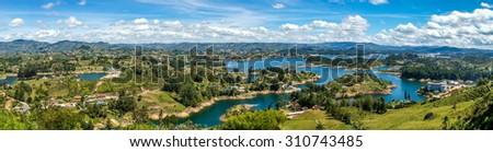 Panorama view of Guatape lake area, Colombia - stock photo