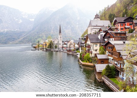 Panorama view of Hallstatt Lake in Upper Austria