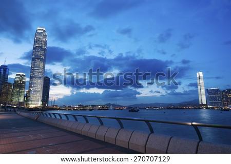 Panorama view of Hong Kong City at dusk - stock photo