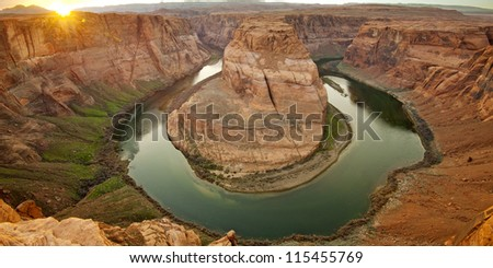 Panorama view of Horse Shoe Bend. Grand Canyon. - stock photo