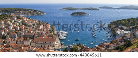 Panorama view of Hvar Town, Hvar Island, Croatia - stock photo