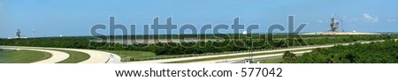 Panorama view of Kennedy Space Center launch stations, Cape Canaveral, Florida - stock photo