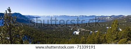 Panorama view of Lake Tahoe - stock photo