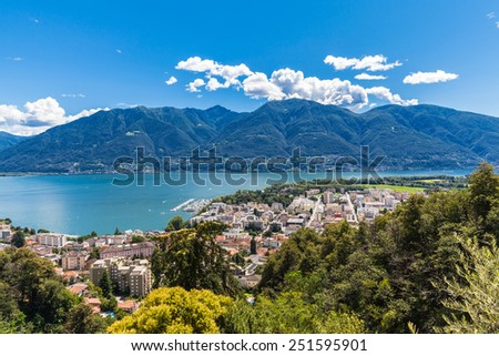 Panorama view of Locarno city and lake on the mountain, Ticino, Switzerland