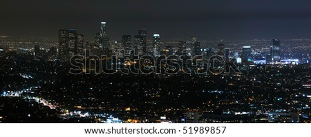 Panorama view of Los Angeles cityscape at night. - stock photo