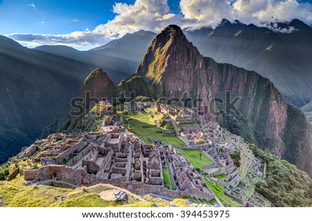 Panorama view of Machu Picchu sacred lost city of Incas in Peru - stock photo